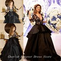 Free Shipping Hot sale Cheap Arabic myriam fares dress real picture 3/4 sleeve long Ball gown Black V-neck celebrity dress CD076