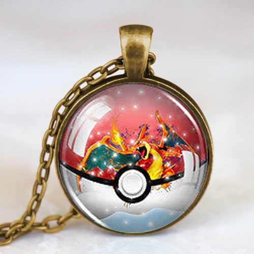 Pokemon font b Anime b font Snow Globe Pokeball Charizard Fashion Necklace brass silver Pendant steampunk