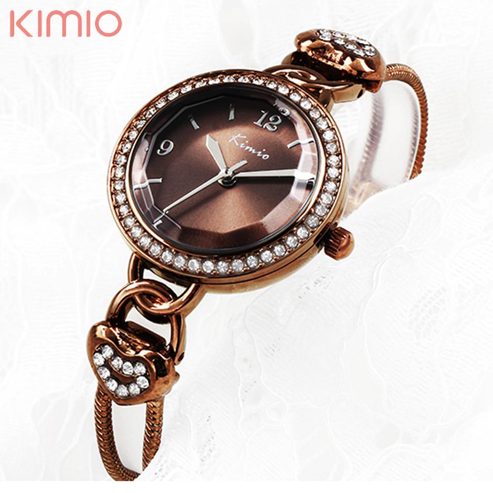 Prix pour Mode 2017 nouveau double chaîne or kimio montres femmes de luxe célèbre marque reloj mujer marca de lujo famosas hodinky femmes