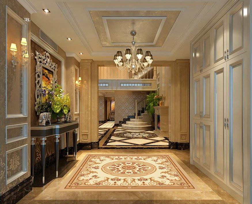 Home Decoration 3d wallpaper pvc Abstract European and American style Marble Parquet flooring pvc wallpaper 3d