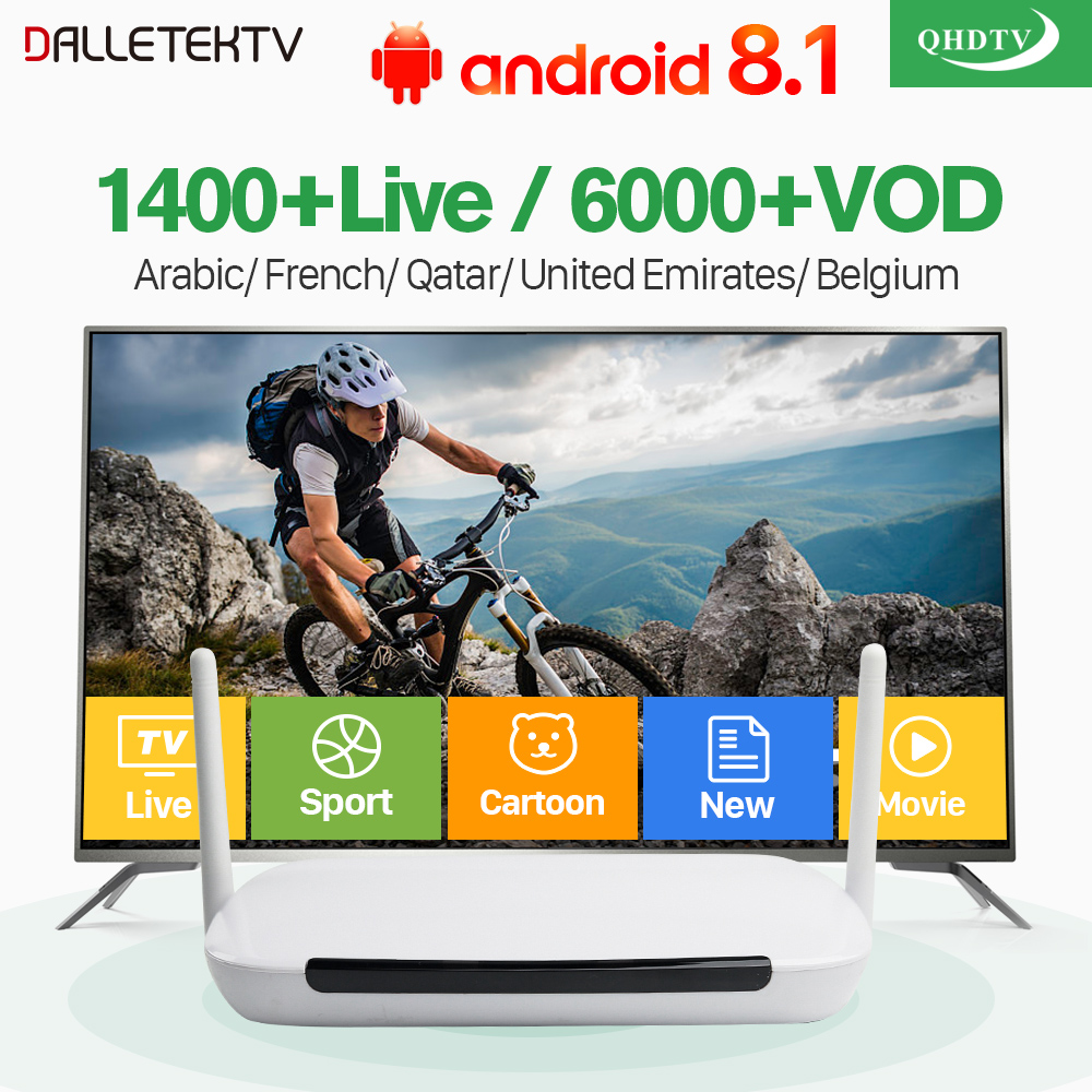 Q9 Android 8.1 IPTV France Arabic Box with French Belgium IPTV Arabic France Live IPTV Subscription 1 Year QHDTV IP TV Channels