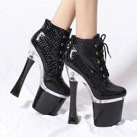 Ботинки; женская обувь; ботильоны на платформе и высоком каблуке; черные глянцевые зимние сапоги из змеиной кожи со шнуровкой; женская обувь