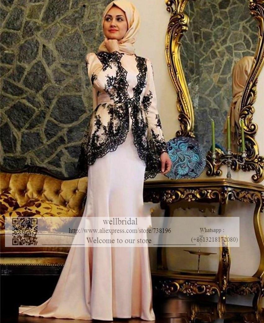 2016 Muslim Robe de Mariage Hijab Dubai Saudi Arabia Vestidos Black Appliques Full sleeve Event Gown Women   Prom     dress