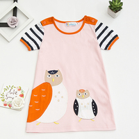 Sun moon kids девушки бальные платья розовый сова с кнопка a-line принцесса костюм 100% хлопка с коротким рукавом платья для девочек