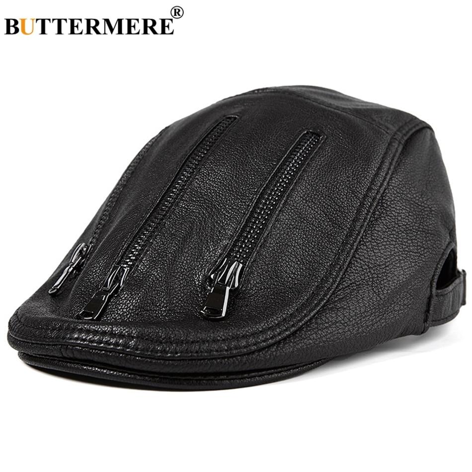 BUTTERMERE Black Berets For Men Leather Flat Caps Male Adjustable Ivy Cap Zipper Genuine Sheepskin Leather Italian Duckbill Hats