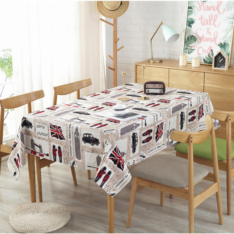 New London modern British wind printing table cloth British soldier pure cotton thickened cotton canvas square tea table cover Солдат