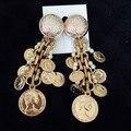 2016 Fashion baroque palace vintage gold metal coin tassel pearl earrings for women luxury elegant long earrings runway jewelry