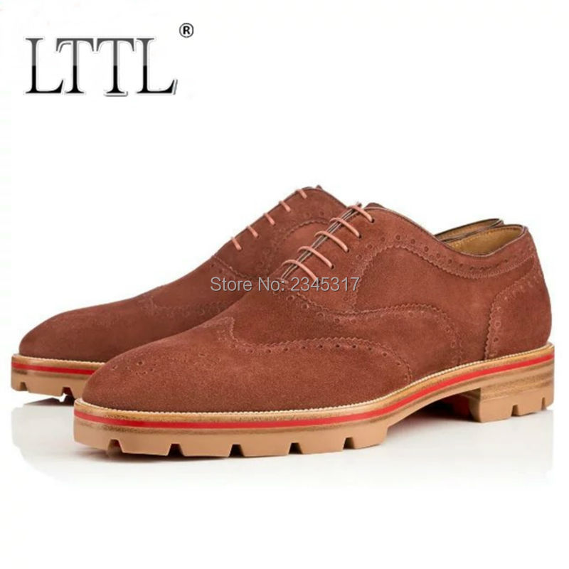 New Fashion Men's Suede Oxfords Fulll Brogue Wing Tip Lace Up Oxford Shoe Men Casual Dress Shoes Platform Thick Soled Male Flats