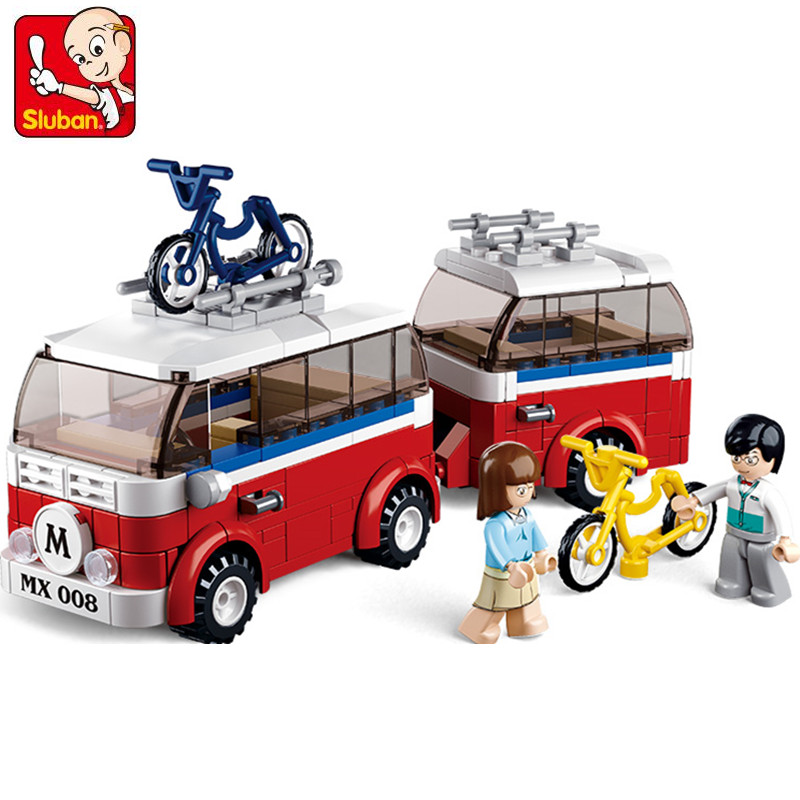 324Pcs B0566 Sluban Figures Technic Motorhomes Camper Model Building Kits Blocks Bricks Toys For Children Compatible With Gift 335pcs 0370 sluban figures aviation city aircraft medical air ambulance model building kits blocks bricks toys for children gift