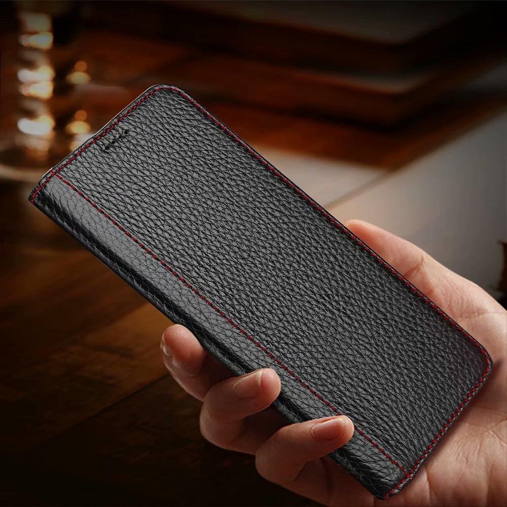 Com Cartão de Bolso Premium Virar Caso de Telefone Para O Iphone XR X Xsmax 6 Genuíno Couro De Luxo Capa Protetora Para Iphone s 8 7 plus plus