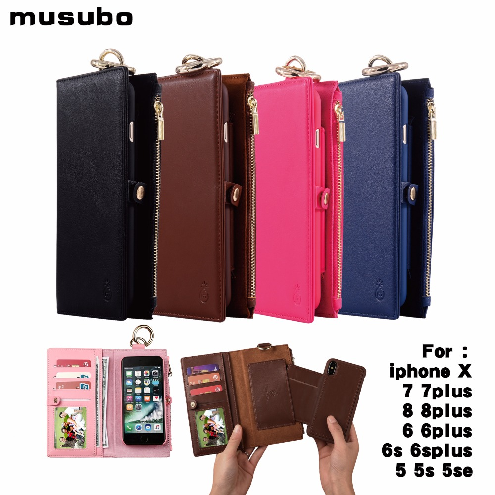 Multi Functional Vintage Leather Case for iPhone <font><b>X</b></font> <font><b>2</b></font> in <font><b>1</b></font> Wallet phone Bag Back Cover for iphone 8 7 6s 6 plus <font><b>5</b></font> 5S SE Cases image