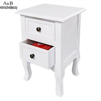 Homdox Wooden Bedside Table Cabinet Nightstand with Two Drawers N40*
