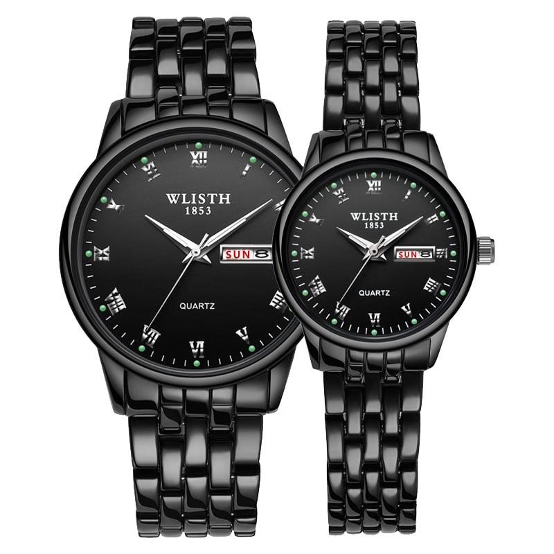 1 Pair Couple Watch Stainless Steel Watch Date Week Luminous Fashion Lovers Watch Gift Box Quartz Wrist Watches For Men Women