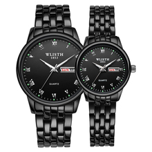 1 Pair Couple Watch Stainless Steel Watch Date Week Luminous