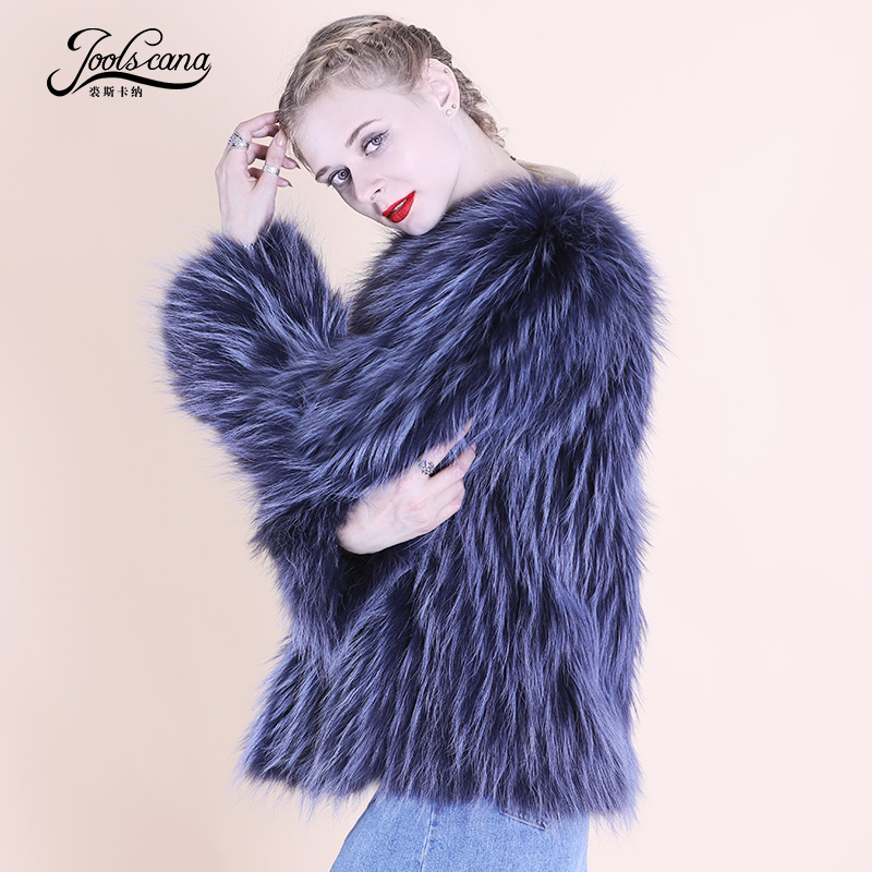 Joolscana real fur coat women jacker winter Fluffy raccoon top coat new Fashion warm 100% real raccoon fur jacket 2018 new