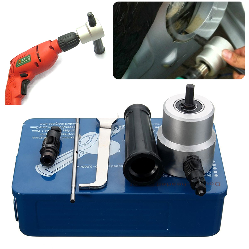 Metal Double Head Sheet Nibbler Cutter Holder Tools Power Drill Attachment Kit Sets Woodworking Metal Saw Cuttering Mayitr