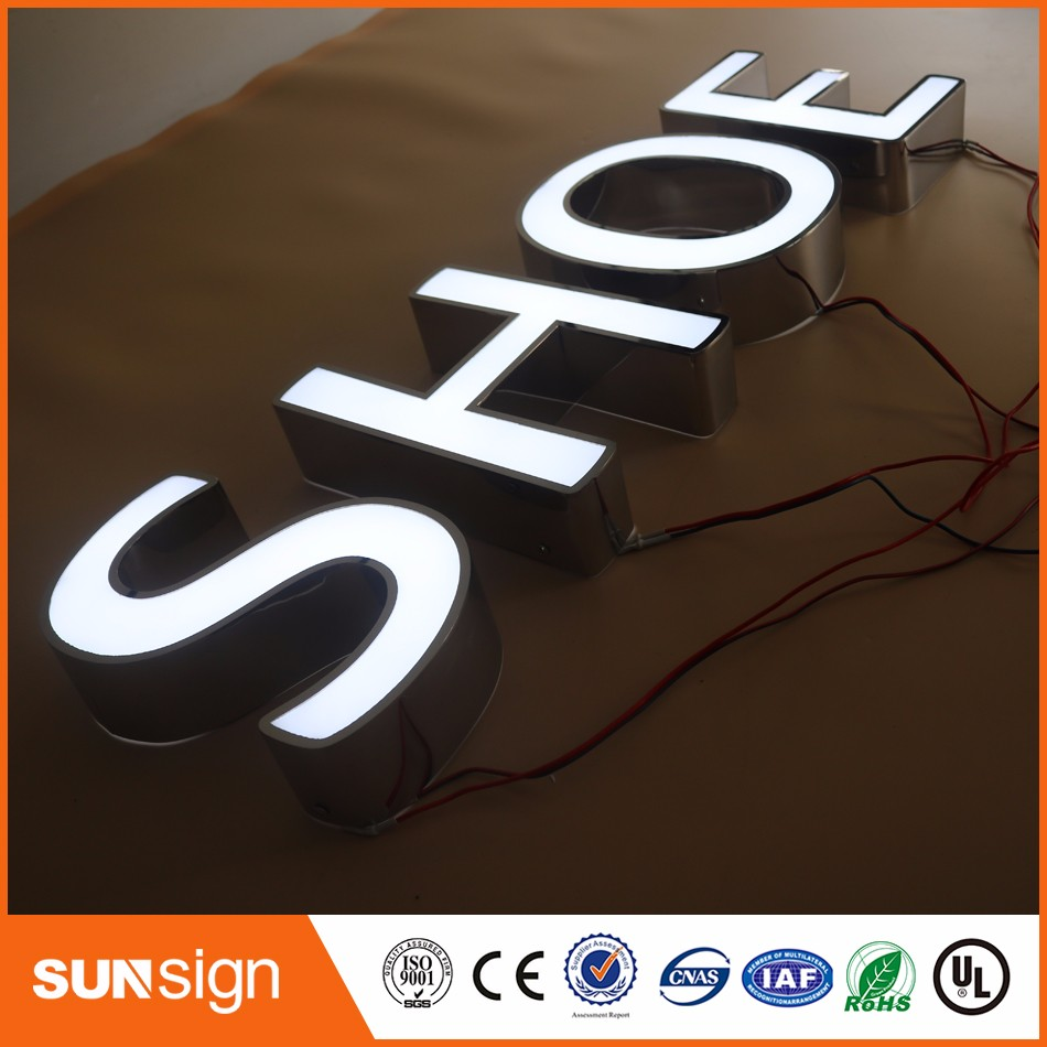 Aliexpress Factory Outlet Outdoor Waterproof High Brightness Acrylic Front Stainless Steel Sides Led Light Up Letters Shop Sign