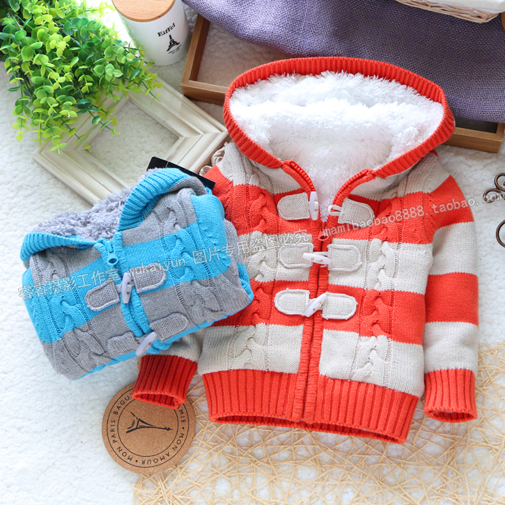 Retail new 2015 autumn winter baby clothing baby boy sweater cardigan child stripe sweater baby girls plus fleece sweaters coat
