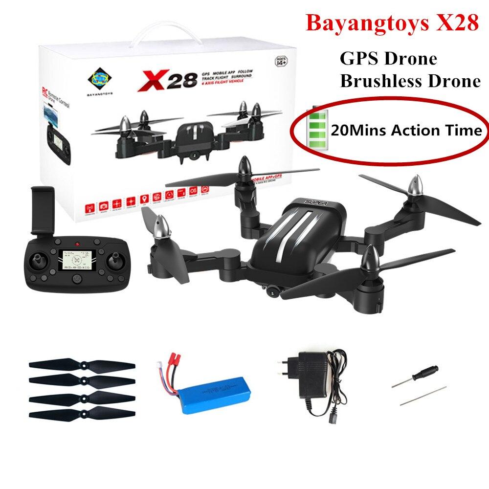 Bayangtoys X28 Sans Balais Quadcopter avec 1080 p HD Caméra Hélicoptère RC Quadcopter Drone Pliable GPS Drone Enfants Cadeau VS CG033
