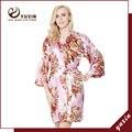 FR0001 Vestes Mulheres Nupcial Do Casamento de cetim de seda Floral Kimono Robe Flor Senhora Spa robe Noite Vestido frete grátis