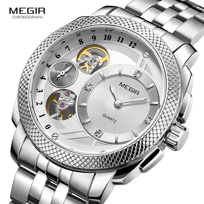 цена на MEGIR Men's Decorative Mechanical Watches Waterproof Hollow Top Brand Watch Men Relojes Hombre