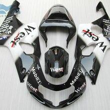Пользовательские обтекатель набор для Suzuki 2000 2001 2002 GSXR1000 K1 K2 мотоцикл обтекатели комплект 00 01 02 GSXR 1000 Черный Запад RP15