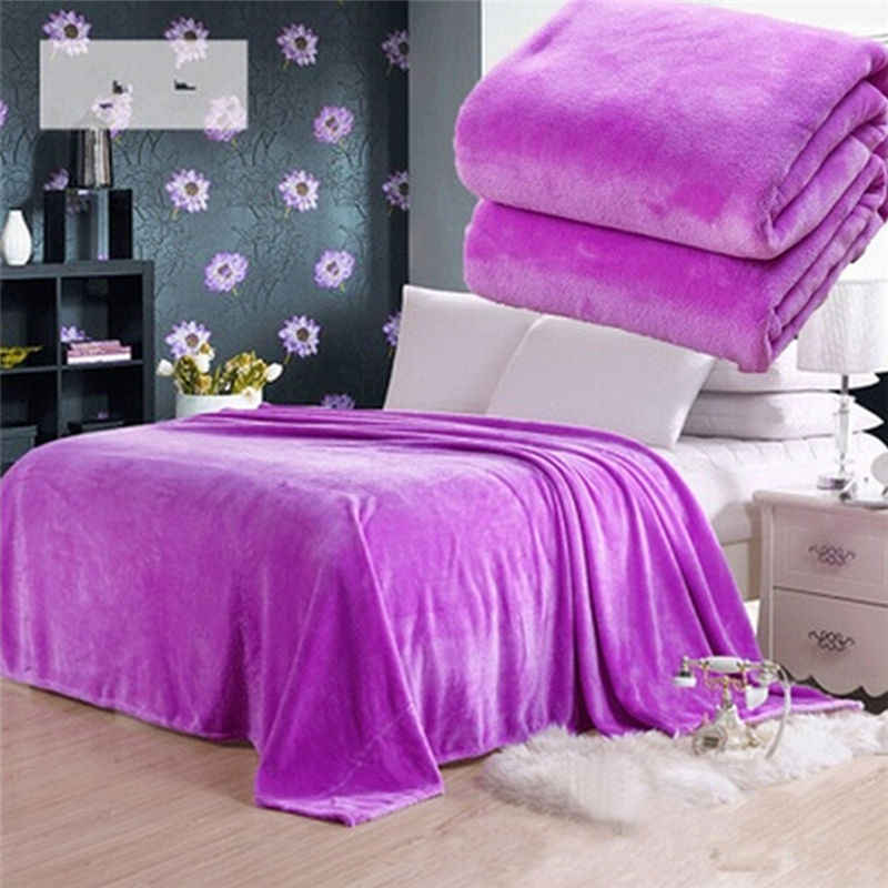 Random Color 1PCS Bed Blanket Fleece Blankets For Bed Throw Blanket Machine Washable Home Textile Solid 50cm * 70cm
