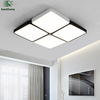 Modern Minimalism Grid Led Dimmable Ceiling Chandelier Luminaire Lustre Led Chandelier For Foyer Geometric Square Metal