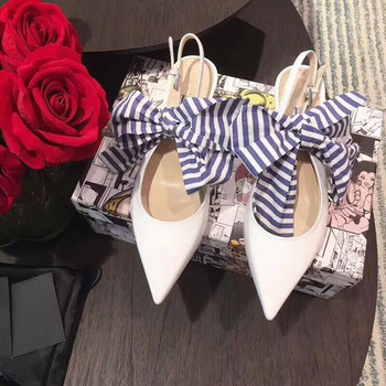 New Patent Leather Women Pumps Fashion Big Bowknot Decor Pointed Toe Stiletto High Heels Shoes Runway Party Wedding Shoes Woman