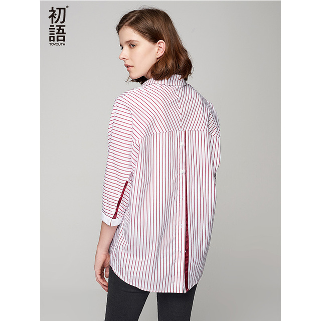 Toyouth New Loose Women Autumn Blouses Asymmetrical Patchwork Batwing Sleeve Blouse All Match Striped Female Tops Shirts