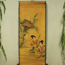 China Antique collection Calligraphy and painting The maid Turchin flute