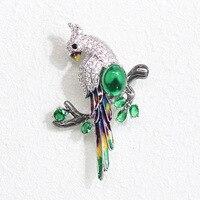 Broches y Broches de loro de alta calidad de lujo Broches de pájaro verde CZKorean accesorios para mujer joyería CC broche grande joyería para hombres|Broches| |  -