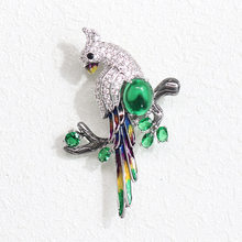 Luxury Top Quality Parrot Pins And Brooches Bird Broches Green CZKorean Accessories Womens Jewellery CC Big Brooch Men Jewelry(China)