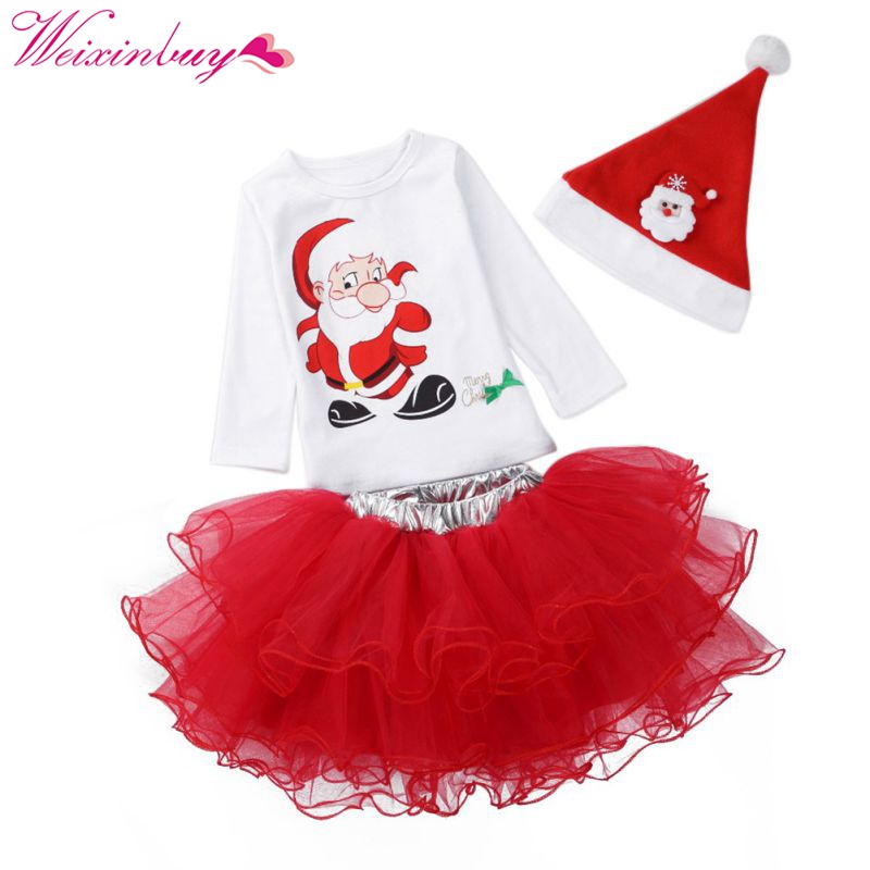Christmas Girls clothing Sets Cartoon Baby Girls' Clothing Set Hat+t-shirt+Skirt 3pcs Suits Children's Sets