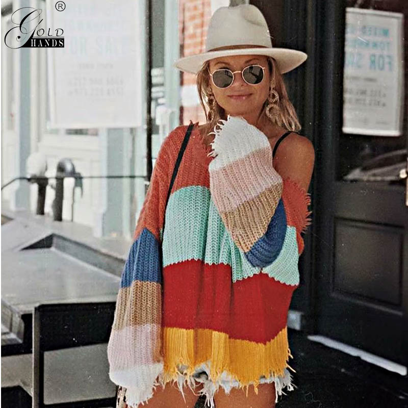 Gold Hands Street Wear Women Sexy Style Both Side Wear Deep V-neck Tassel Sweater Patchwork Backless Sweater Free Shipping
