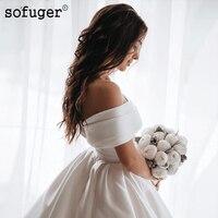 2019 Белый Кот атласные свадебные платья с открытыми плечами Милая бальное платье пышное свадебное платье Саудовская Арабский платье невест