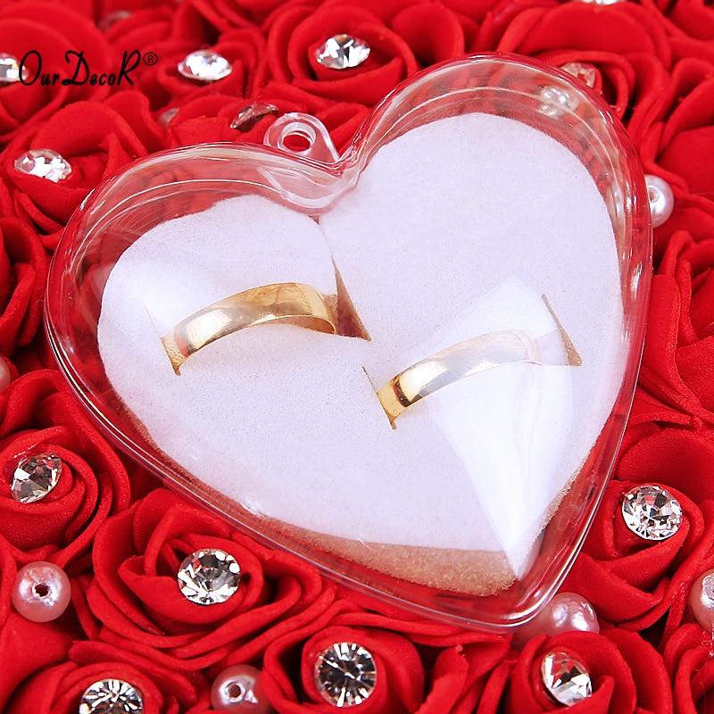 Bröllop favoriserar Häng Ring Pillow Med Transprent Box Hjärta - Semester och fester - Foto 5
