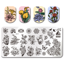 Pandox Rectangle Stamp Plate VY17 Flower Design Nail Art Tmeplate Manicure Stamping Image