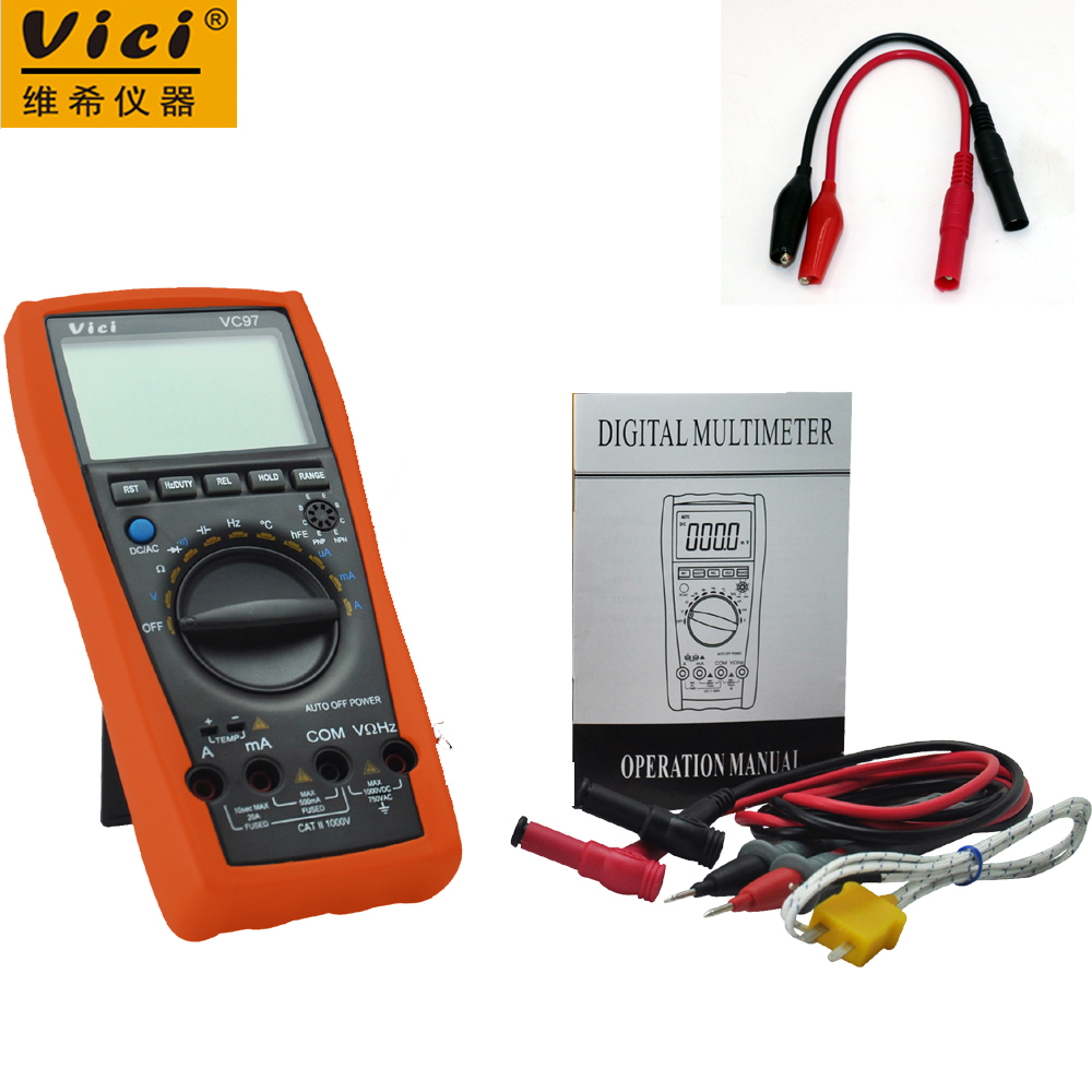 VICI VC97 3 3/4 digital multimeter voltmeter AC/DC voltage current Resistance Capacitance frequency Tester + Alligator Probe l9110h dip 8