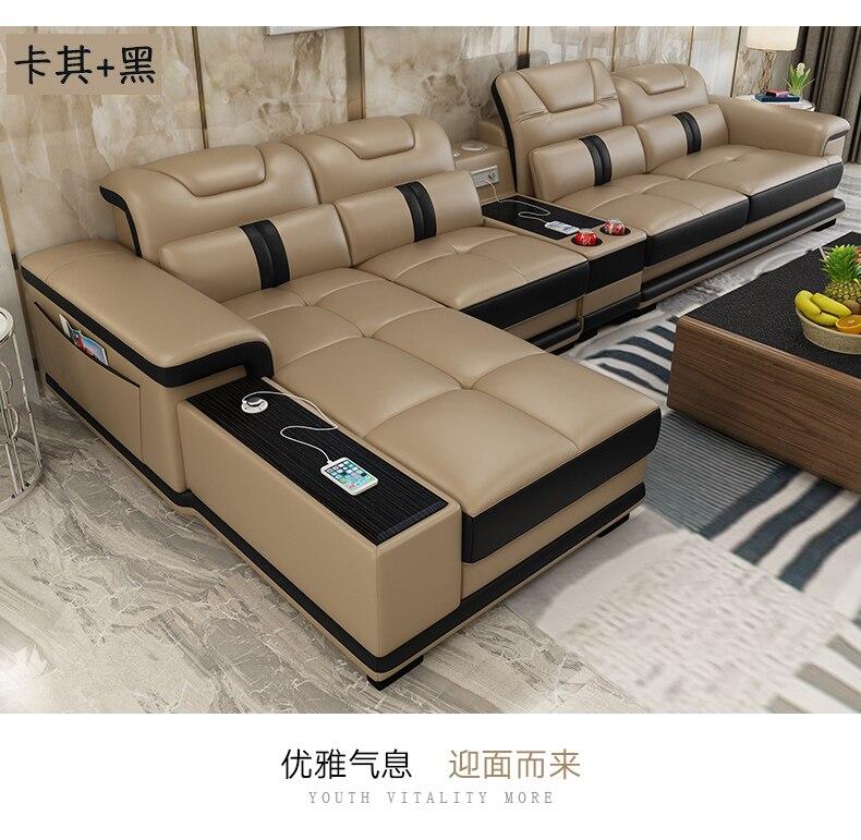 Salon Canapé ensemble canapé d'angle haut-parleur réel véritable vache en cuir canapés modulaires minimaliste muebles de sala moveis par casa