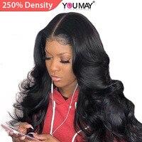 13x6 парики из натуральных волос на кружеве для женщин 250% плотность бразильские волнистые волосы на шнуровке спереди парики предварительно с
