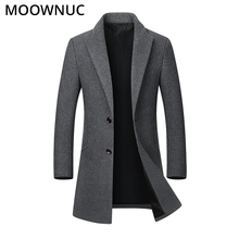 Thick Overcoat Mens Coat Warm Wool Men Fashion Woollen Male Business Casual Autumn Winter Blends Brand Clothing MOOWNUC