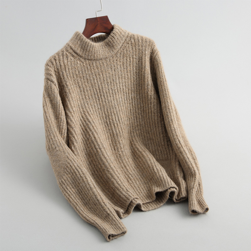 autumn and winter leisure solid color sweater female long sleeved high necked sweater