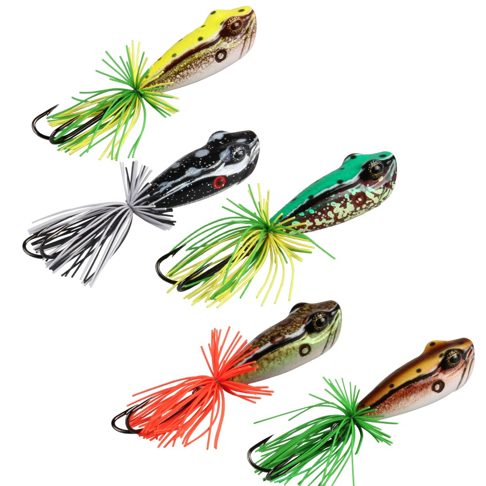 AnglerDream Artificial Bait Plastic Frog Lure VMC 3/0 Double Hook Pike Fishing Bait 58MM 11.5G Top Water Floating Fishing Lure artificial frog fishing lure bait yellow green black 5pcs