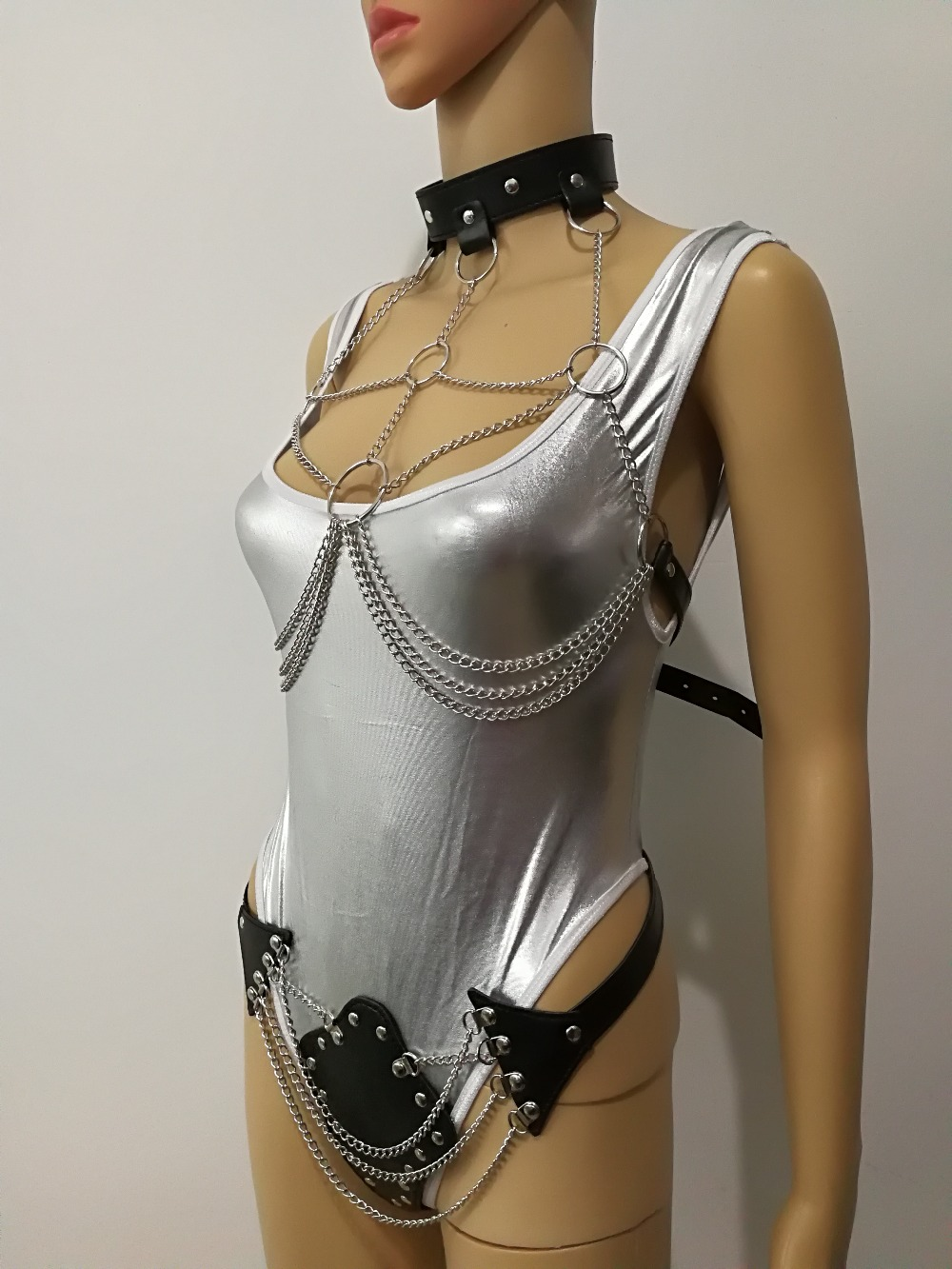 New Arrival B759 Women Leather Harness Silver Slave Bra Body Chains Sexy Leather Underwear Chains Jewelry Silver Color