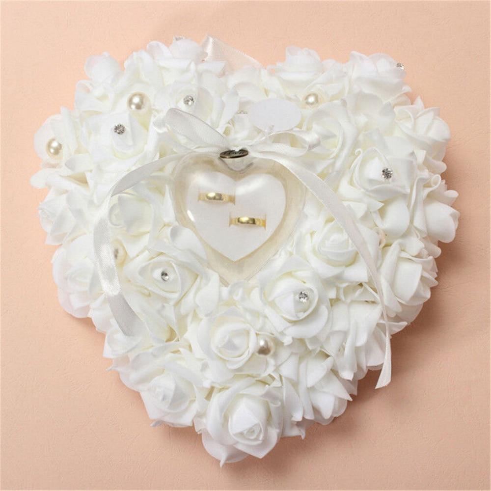 Heart Shape Rose Flowers Ring Box Romantic Wedding Jewelry