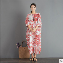 Summer traditional Chinese - style linen dress