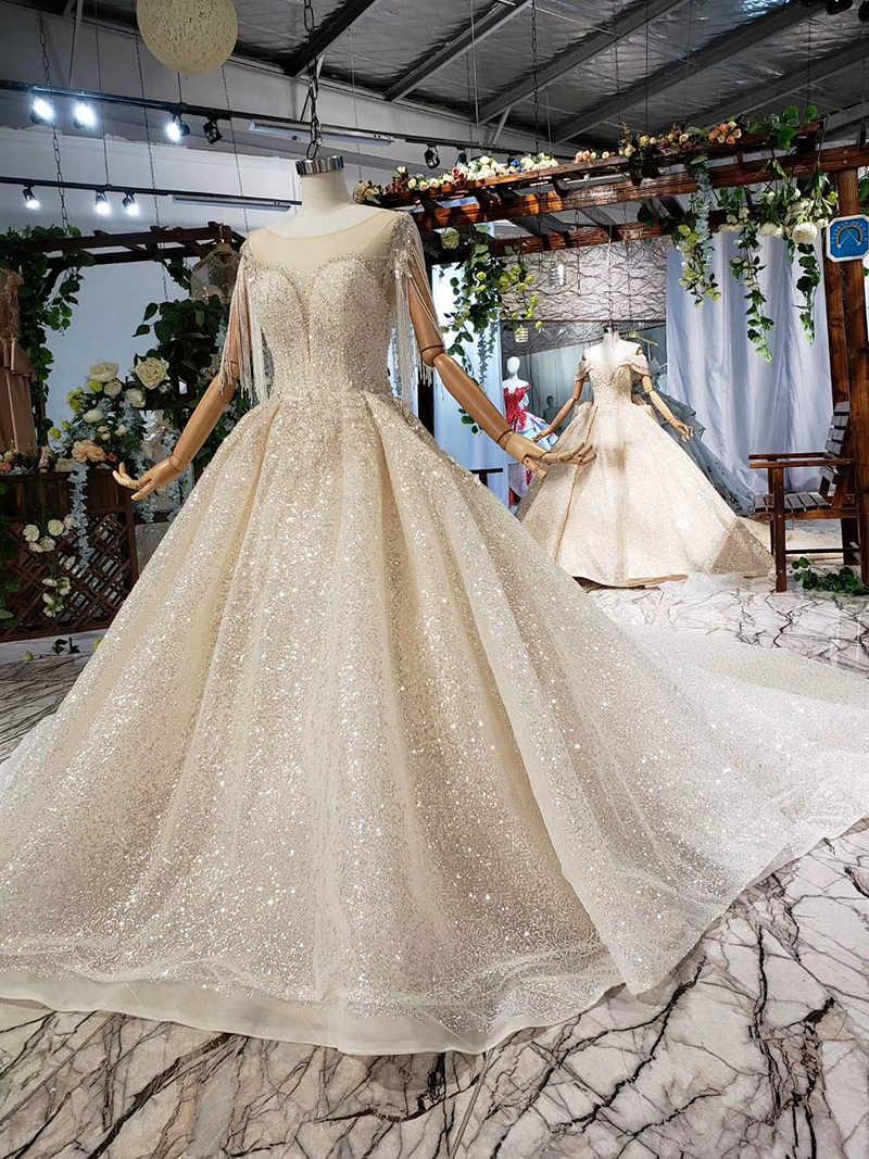 HTL607 легкий кремовый цвет Специальное свадебное платье с круглым вырезом кисточкой Иллюзия блестками на шнуровке, для невесты свадебное платье vesrido de noiva