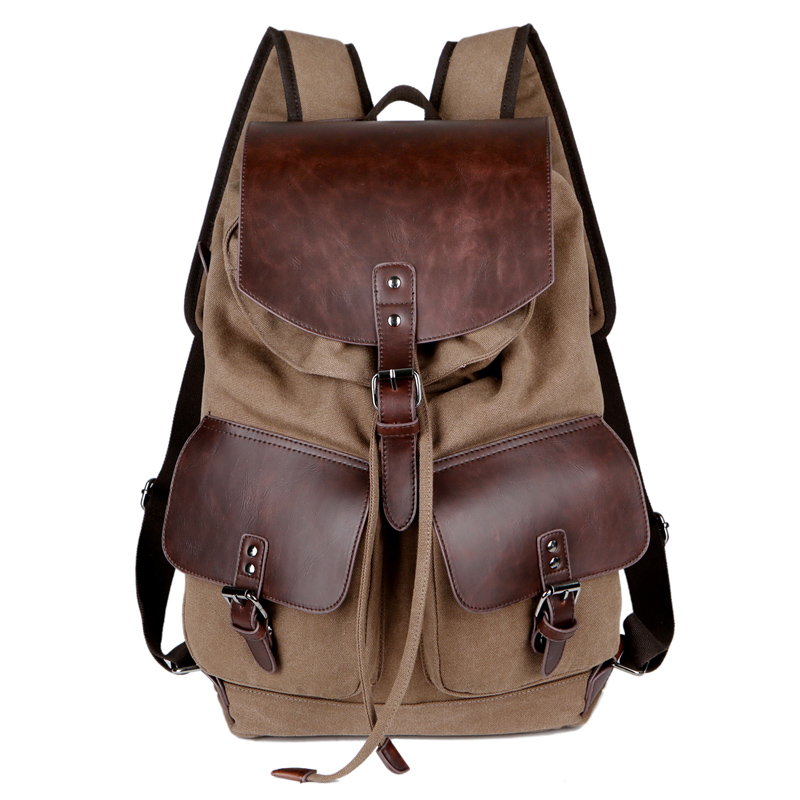 High Quality Vintage Fashion Casual Canvas Microfiber Leather Women Men Backpack Backpacks Shoulder Bag Bags For Lady Rucksack