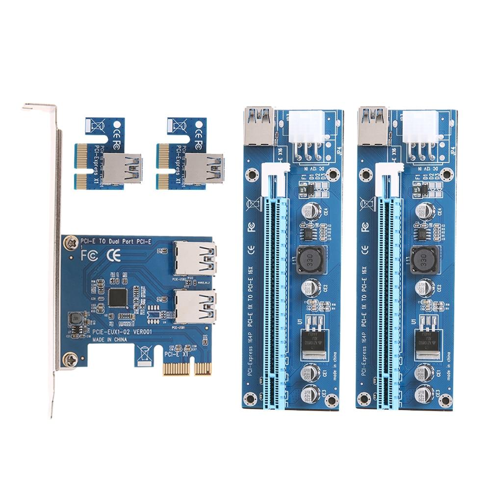 PCI-e to Dual USB 3.0 Riser Card PCI Express 1X to 2 16X Riser Card + USB 3.0 Extender Cable SATA 15 Pin-4Pin Power Cable pci e to